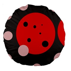 Red And Pink Dots Large 18  Premium Round Cushions by Valentinaart