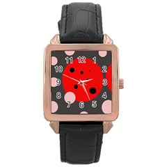 Red And Pink Dots Rose Gold Leather Watch  by Valentinaart