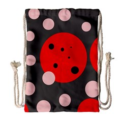 Red And Pink Dots Drawstring Bag (large) by Valentinaart