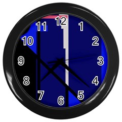 Blue Abstraction Wall Clocks (black) by Valentinaart