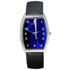 Blue Abstraction Barrel Style Metal Watch by Valentinaart