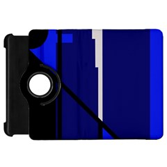 Blue Abstraction Kindle Fire Hd Flip 360 Case by Valentinaart