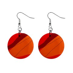 Red And Orange Decorative Abstraction Mini Button Earrings by Valentinaart