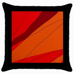 Red And Orange Decorative Abstraction Throw Pillow Case (black) by Valentinaart