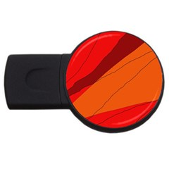 Red And Orange Decorative Abstraction Usb Flash Drive Round (4 Gb)  by Valentinaart