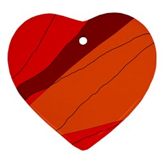 Red And Orange Decorative Abstraction Heart Ornament (2 Sides) by Valentinaart
