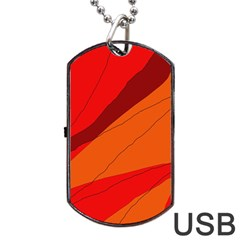 Red And Orange Decorative Abstraction Dog Tag Usb Flash (two Sides)  by Valentinaart