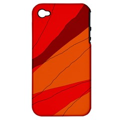 Red And Orange Decorative Abstraction Apple Iphone 4/4s Hardshell Case (pc+silicone) by Valentinaart
