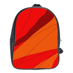 Red And Orange Decorative Abstraction School Bags (xl)  by Valentinaart