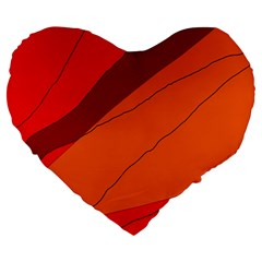 Red And Orange Decorative Abstraction Large 19  Premium Heart Shape Cushions by Valentinaart