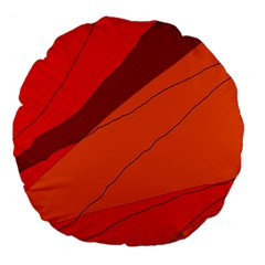 Red And Orange Decorative Abstraction Large 18  Premium Flano Round Cushions by Valentinaart