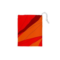 Red And Orange Decorative Abstraction Drawstring Pouches (xs)  by Valentinaart