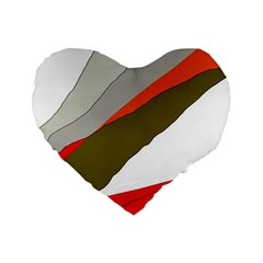 Decorative Abstraction Standard 16  Premium Flano Heart Shape Cushions by Valentinaart