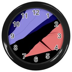 Purple and pink abstraction Wall Clocks (Black)