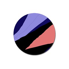 Purple And Pink Abstraction Magnet 3  (round) by Valentinaart