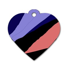 Purple And Pink Abstraction Dog Tag Heart (one Side) by Valentinaart