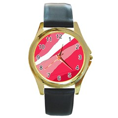 Pink Abstraction Round Gold Metal Watch by Valentinaart
