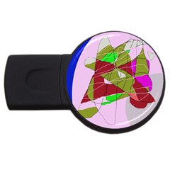 Flora Abstraction Usb Flash Drive Round (4 Gb)  by Valentinaart