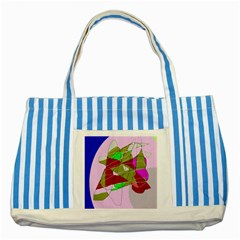 Flora Abstraction Striped Blue Tote Bag by Valentinaart