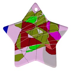 Flora Abstraction Star Ornament (two Sides)  by Valentinaart