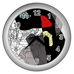 Decorative Abstraction Wall Clocks (silver)  by Valentinaart