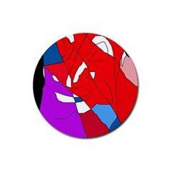 Colorful abstraction Rubber Round Coaster (4 pack)  by Valentinaart