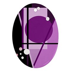 Purple Geometrical Abstraction Ornament (oval)  by Valentinaart