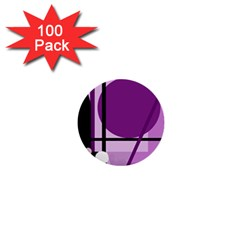Purple Geometrical Abstraction 1  Mini Buttons (100 Pack)  by Valentinaart