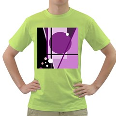 Purple Geometrical Abstraction Green T Shirt by Valentinaart