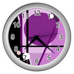 Purple Geometrical Abstraction Wall Clocks (silver)  by Valentinaart