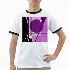 Purple Geometrical Abstraction Ringer T Shirts by Valentinaart