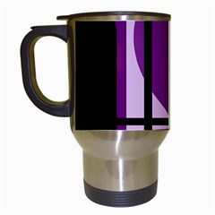 Purple Geometrical Abstraction Travel Mugs (white) by Valentinaart