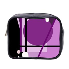 Purple Geometrical Abstraction Mini Toiletries Bag 2 Side by Valentinaart