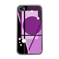 Purple Geometrical Abstraction Apple Iphone 4 Case (clear) by Valentinaart