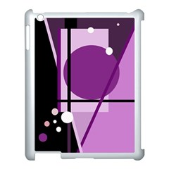 Purple Geometrical Abstraction Apple Ipad 3/4 Case (white) by Valentinaart