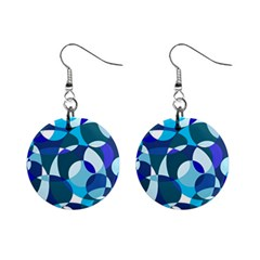 Blue Abstraction Mini Button Earrings by Valentinaart