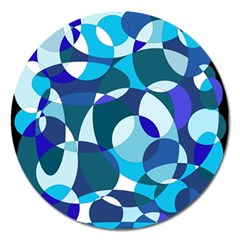 Blue Abstraction Magnet 5  (round) by Valentinaart