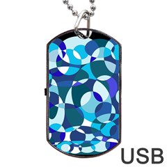 Blue Abstraction Dog Tag Usb Flash (one Side) by Valentinaart