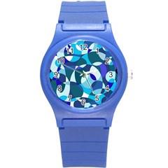 Blue Abstraction Round Plastic Sport Watch (s) by Valentinaart