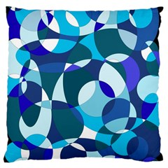 Blue Abstraction Large Cushion Case (two Sides) by Valentinaart