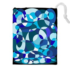 Blue Abstraction Drawstring Pouches (xxl) by Valentinaart
