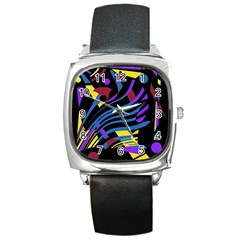 Optimistic Abstraction Square Metal Watch by Valentinaart