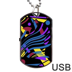 Optimistic Abstraction Dog Tag Usb Flash (two Sides)  by Valentinaart