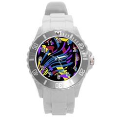 Optimistic Abstraction Round Plastic Sport Watch (l) by Valentinaart