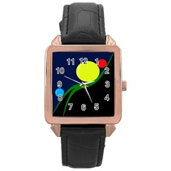 Falling  Ball Rose Gold Leather Watch