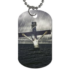 Jesus On The Cross At The Sea Dog Tag (two Sides) by dflcprints