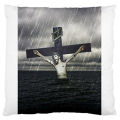 Jesus On The Cross At The Sea Standard Flano Cushion Case (One Side) by dflcprints
