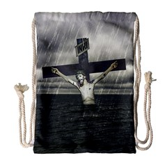 Jesus On The Cross At The Sea Drawstring Bag (large) by dflcprints