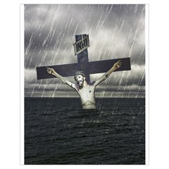 Jesus On The Cross At The Sea Drawstring Bag (small) by dflcprints