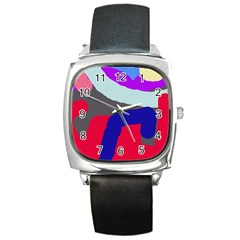 Crazy Abstraction Square Metal Watch by Valentinaart